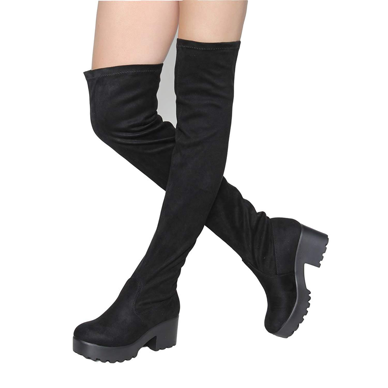 13a6f467004 Buy Womens Thigh High Platform Boots Sexy Chunky Block Heel Stretch ...