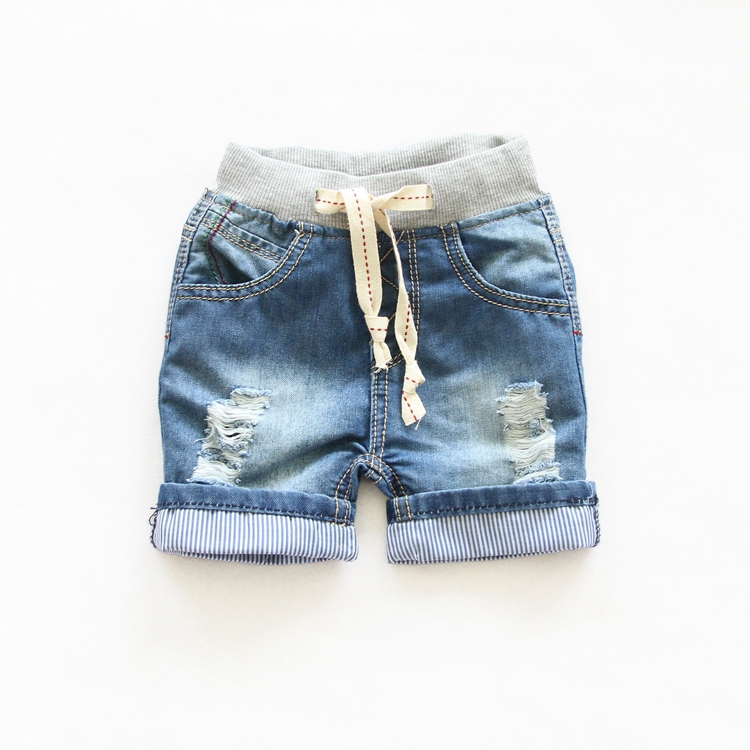 2015 summer boys girls hot pants fashion jeans shorts denim shorts Elastic waist with Drawstrings For Children 2-7Y Shorts