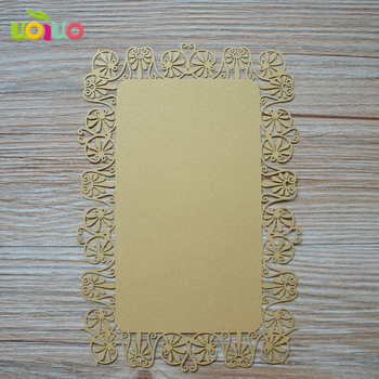 Royal simple flower wedding souvenirs lase cut wedding meeting invitation card