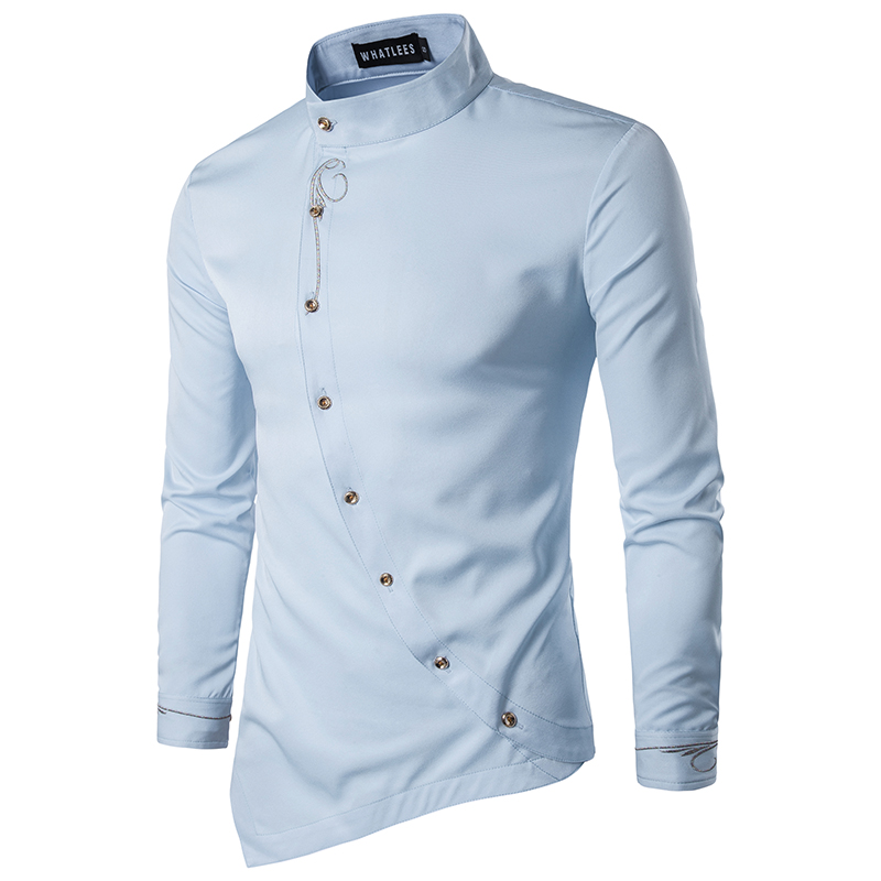 Fashion Men Stylish Long Sleeve Shirt V-neck Casual Slim Fit Polo Tee Shirt BY1