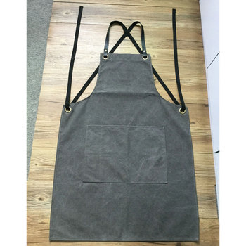 Factory Custom Vintage Grey Wash Canvas Gardening Aprons With Cross Back  Cotton Webbing Strap