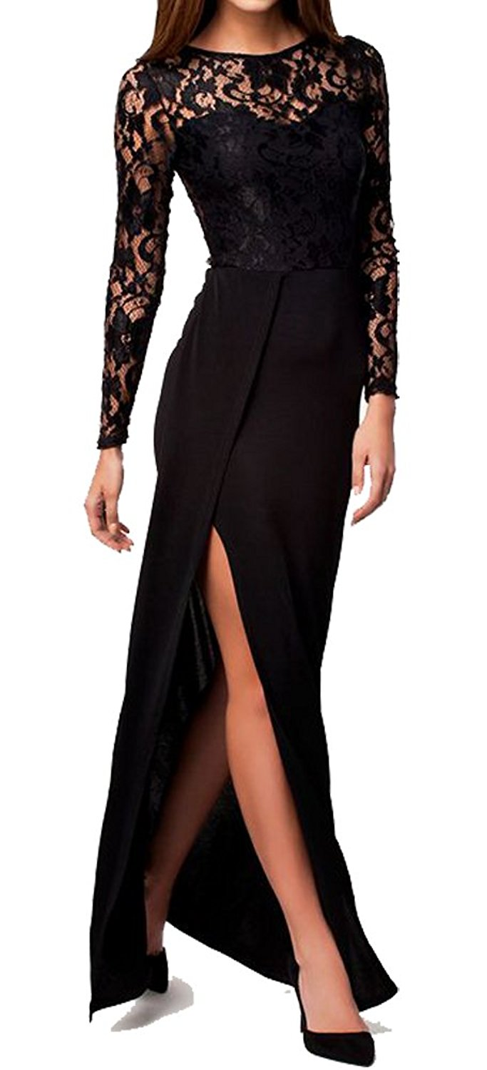 Get Quotations · made2envy Lace Top High Slit Long Sleeves Maxi Dress a080b4c15f79
