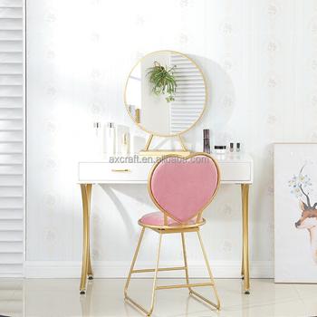 2 Piece ящик Make Up зеркало металл сердце тщеславия стол и табурет набор Buy стеклянный зеркальный туалетный столикантикварное трюмо