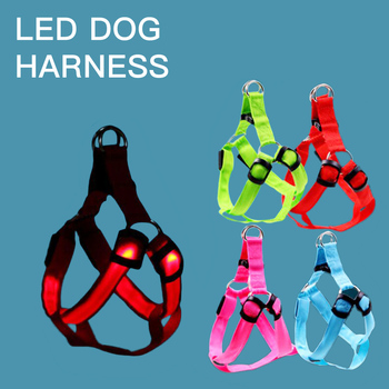 Manufacturer wholesale outdoor nylon adjustable custom rechargeable led dog harness