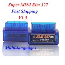 2015 Newest V1.5 Super MINI ELM327 Bluetooth OBD2 / OBDII ELM 327 Version 1.5 Blue Auto Diagnostic Interface Elm327 Scanner
