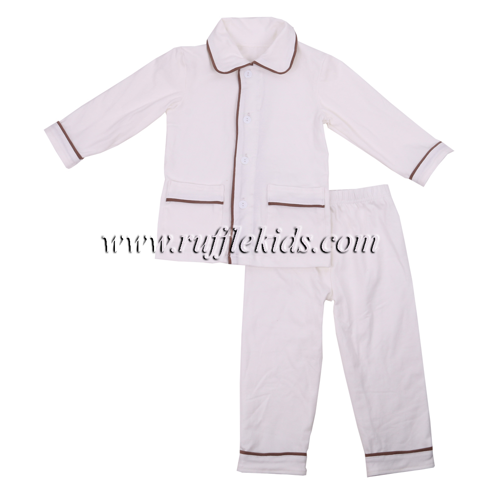 wholesale boutique kids fall pyjamas set with pocket chinese children clothing manufacturers new design baby girls pajamas
