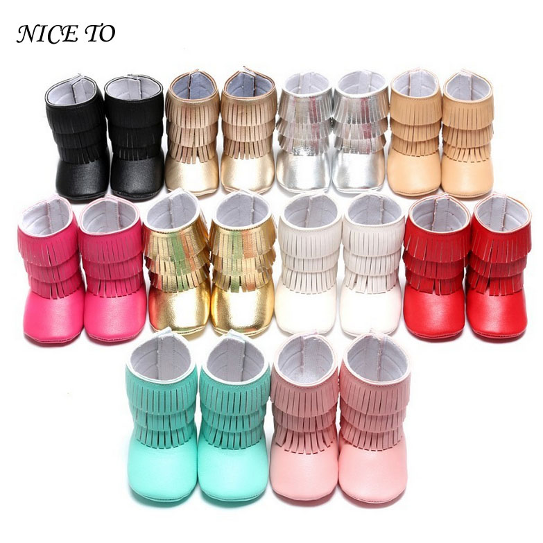 14colors New arrived Pu suede leather 3 layer Tassel moccasins baby Newborn baby boots infant first step shoes