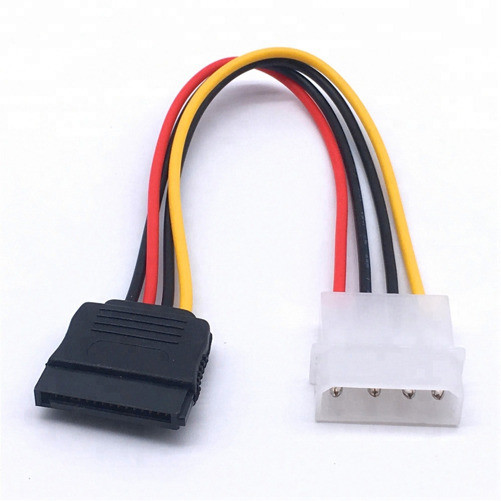 15Pin Male Serial To 15Pin IDE Molex Female 4Pin SATA Female Cable Power Cable