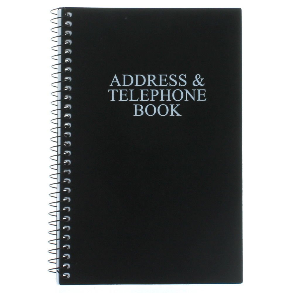 "Black Telephone Address Book Spiral Bound Vinyl Cover 8"" x 5"""