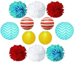 Tissue POM POMS Lanterns Bundle for Wedding Birthday Party Baby Girl boy Nursery Room Circus Decoration Dr Seuss Inspired Theme