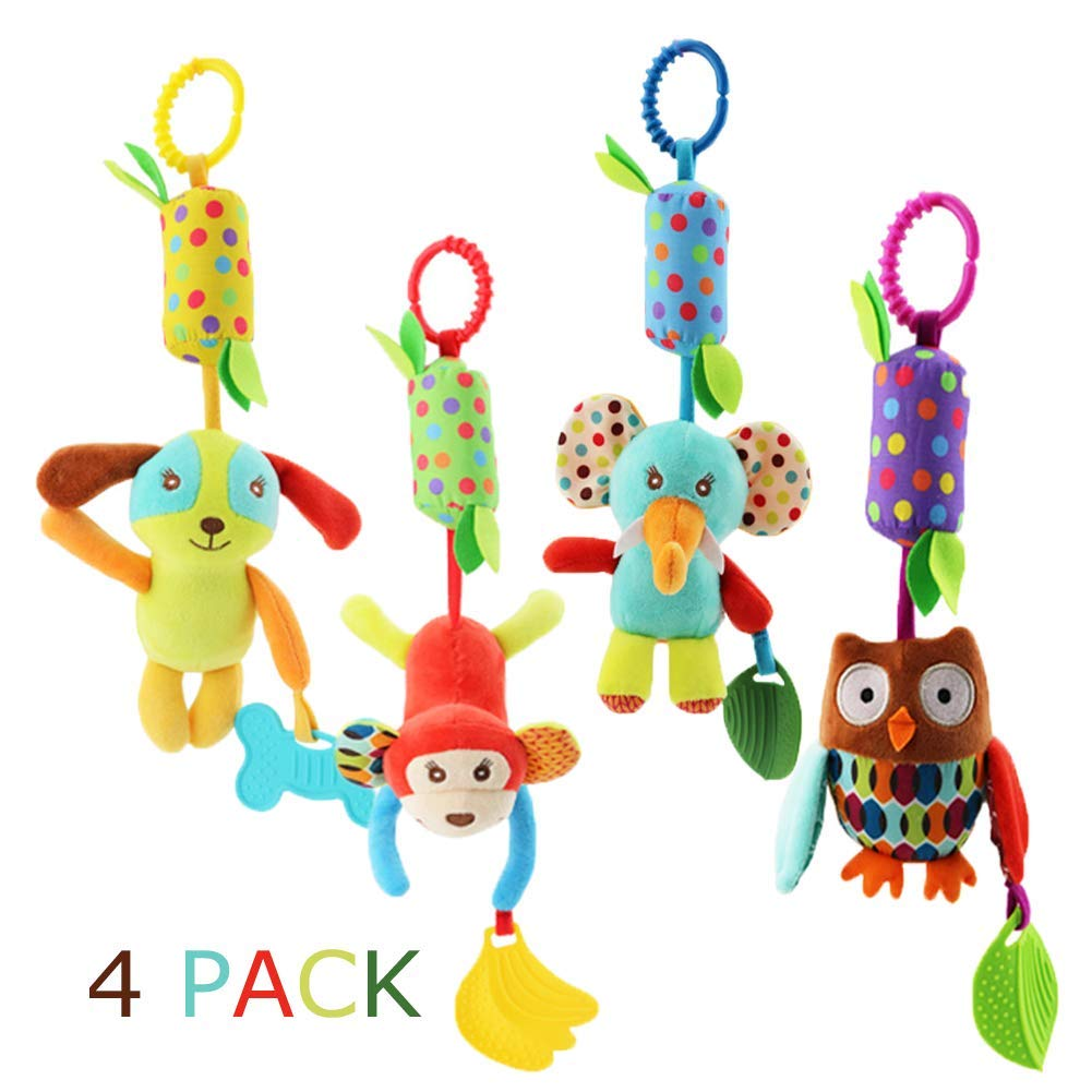 Sportsvoutdoors Baby Rattle Toys, Soft Hanging Rattle, Crinkle Squeaky Toy, Infant Stroller Car Seat Crib Travel Activity Plush Animal Wind Chime with Teether for Boys Girls