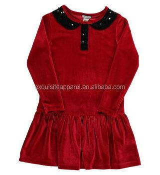 b45e0bc617e2 Baby Girls Sequin Collar Red Velvet Dress