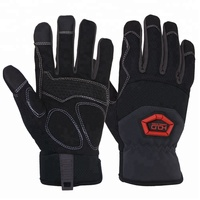 Black Anti-vibration Touch Screen Synthetic Leather Custom Industrial Mechanics Work Gloves