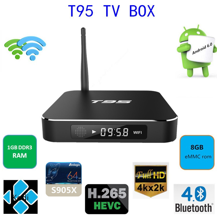 T95 Amlogic S905X Android 6.0 1GB DDR3 smart tv box / itv box