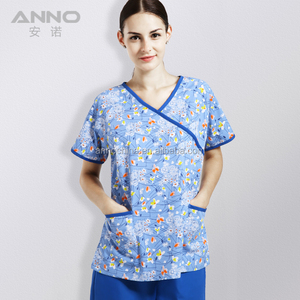 Fashionable printed nursing medical scrubs suits