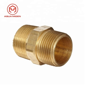 "1"" x 1"" Male Pipe Hex Nipple Metals Brass Pipe Fitting"