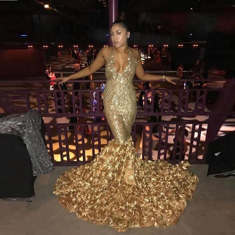 cf9f8154dc38f9 Afrikaanse Prom Dresses Gold Diepe V-hals Rose Trein Low Back Mermaid  Avondjurken Vestidos Feestjurk