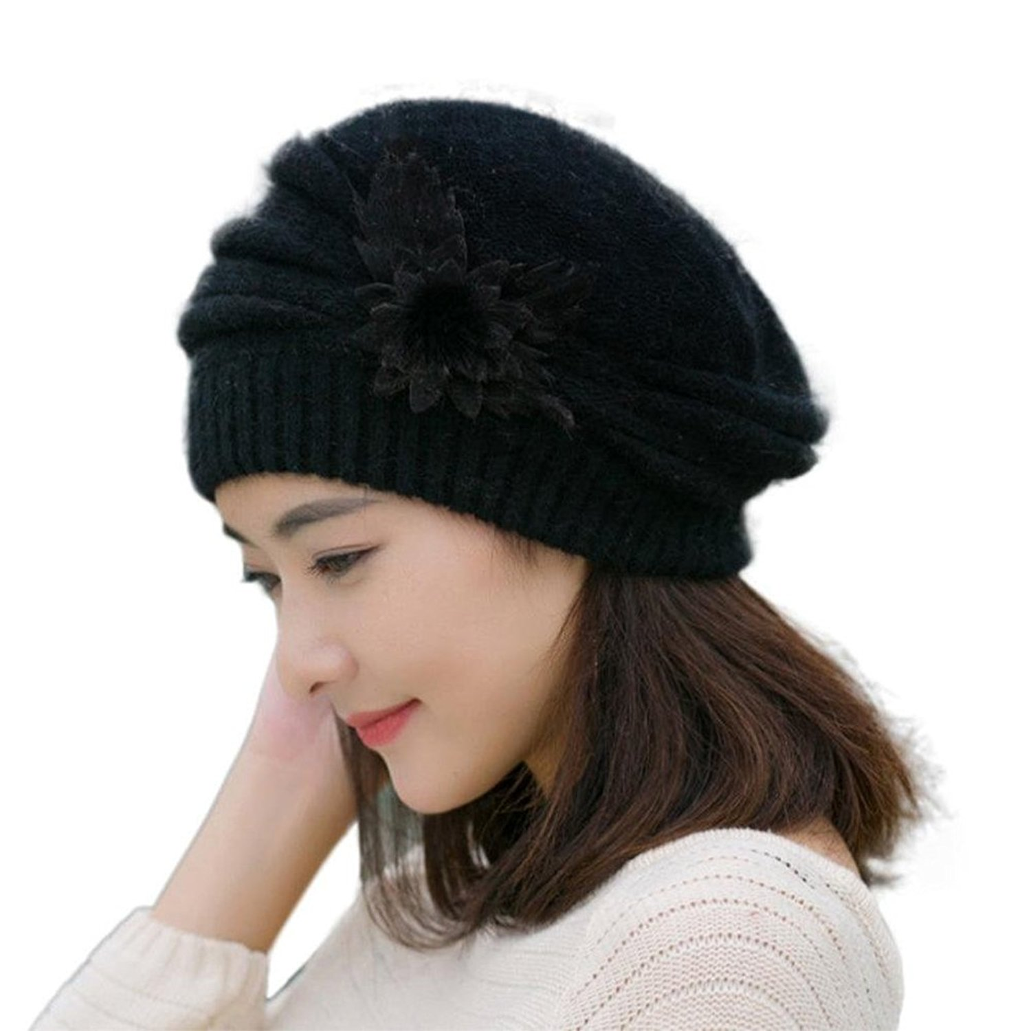 Get Quotations · ZX101 Lady French Beret Hat Wool Warm Plain Beret Beanie  Hat Flower Knit Crochet Beanie Hat faae65c6d185
