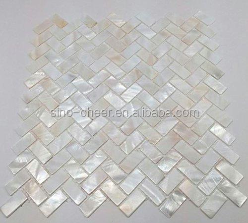Madre de pearl oyster espiga shell mosaico de azulejos for Mosaicos de azulejos en paredes