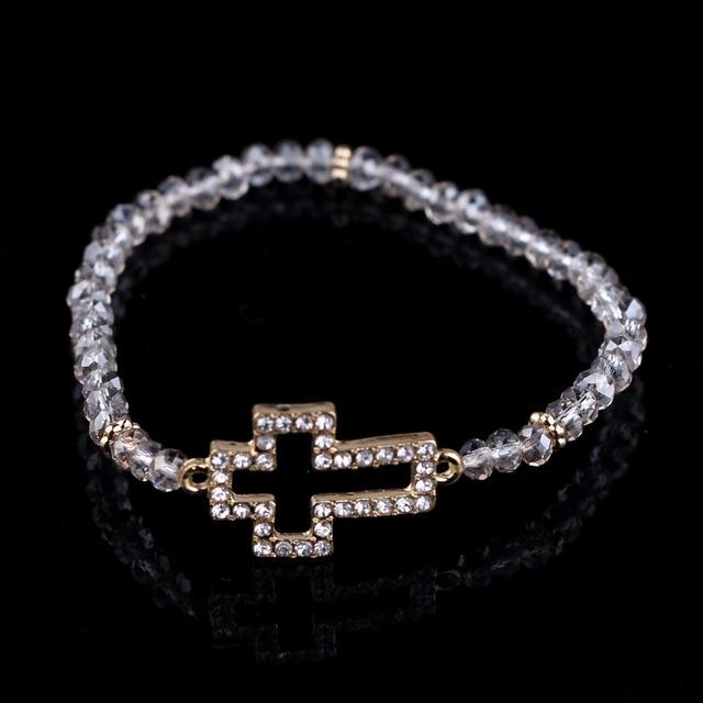 fa9c0e0d0243 2018 piedras preciosas encanto cuentas de cristal Cruz colgante pulsera de  las mujeres