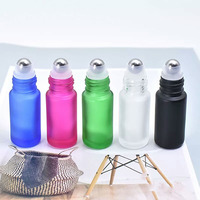 Wholesale empty essential oil perfume 4ml 5ml 8ml 10ml frosted clear amber blue glass roll on bottle with metal roller ball