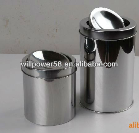 High quality stainless steel swing lid dustbin