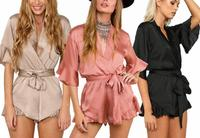B11531A Europe and United States Women fake silk jumpsuit autumn new fashion playsuits