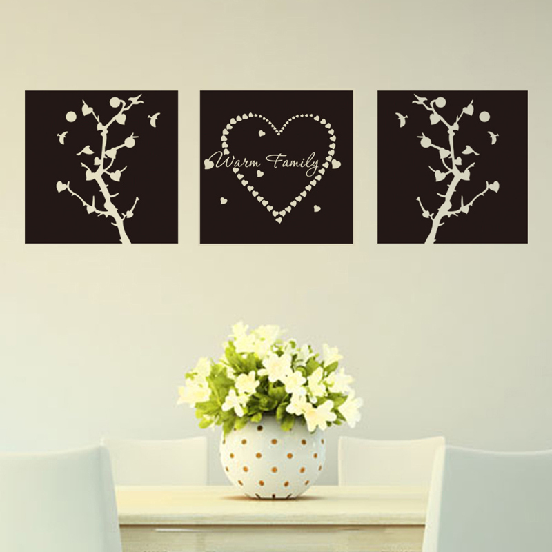 3PCS/Lot Warm Family 42*42cm  Home Decor Creative Wall Stickers Removable Decorative Home Decals Adesivo De Parede Wallpapers