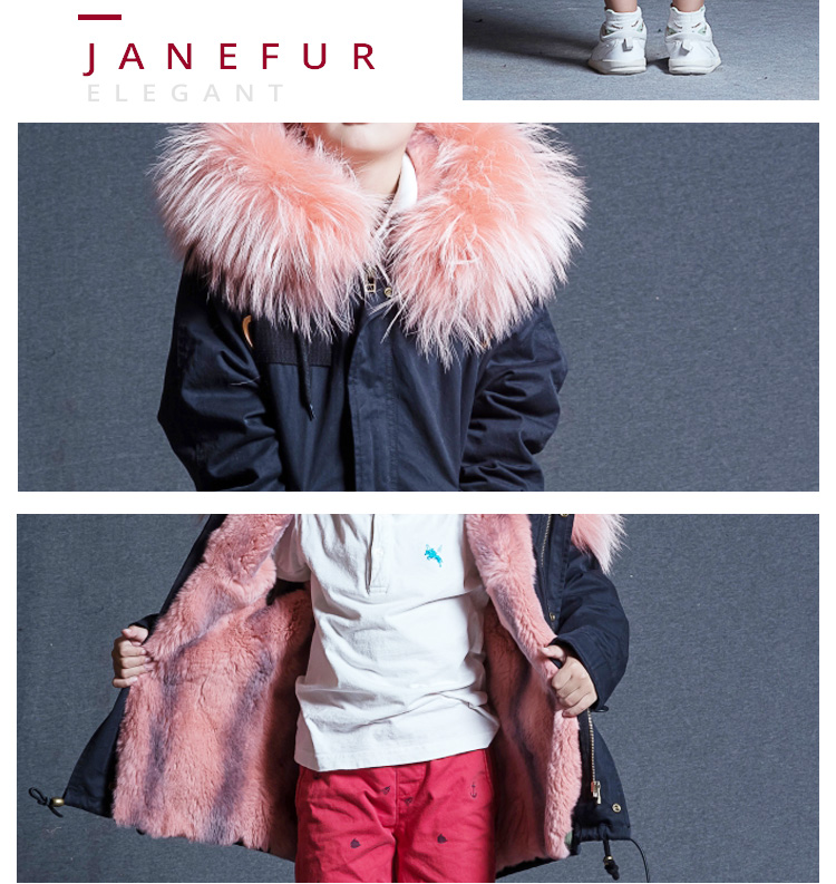 Warm Boys Girls Faux fur lining fur parka kids winter coat with Raccoon fur hood