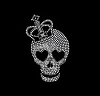 bling crown hot fix rhinestone skull sticker for shirts