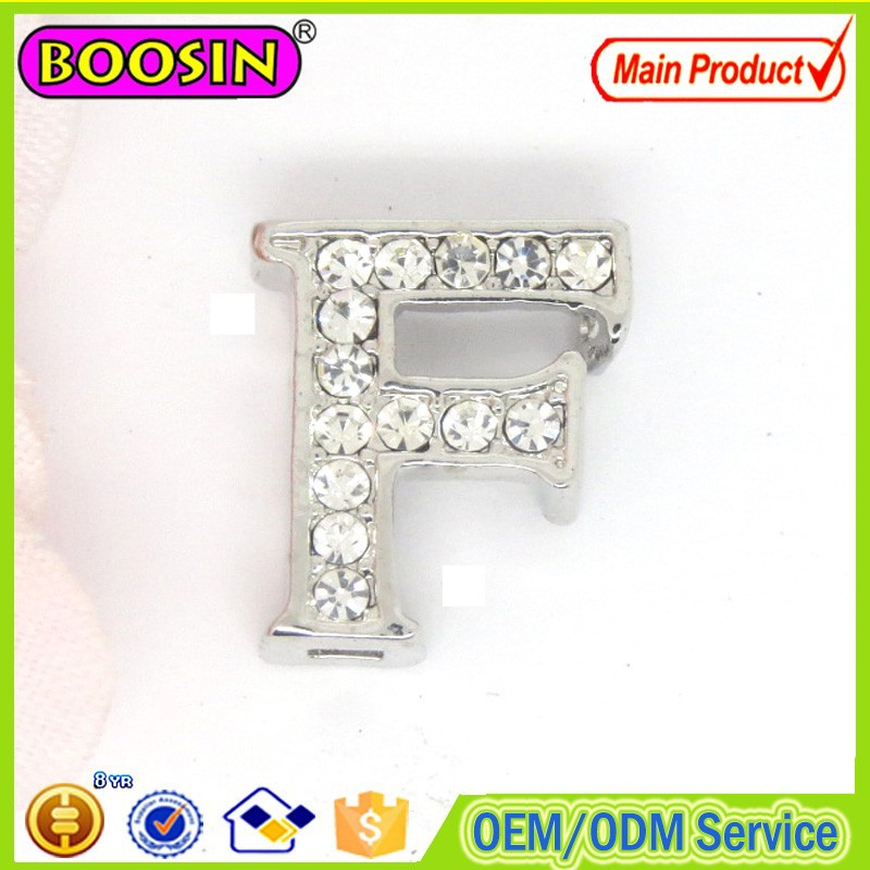 15mm Sliding A-Z metal alphabet letters diamond pendant wholesale #14910