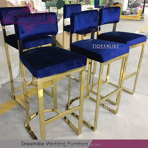 Wholesale high stainless steel frame blue velvet bar stool for parties
