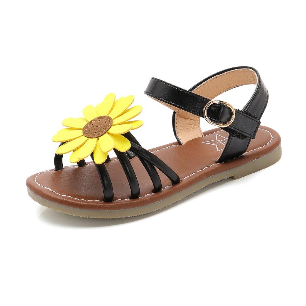 9ea29346d6ee7 Girl s Flower Flat Sandals Cute Summer Open Toe Ankle Strap Dress Sandals  for Kids (Toddler