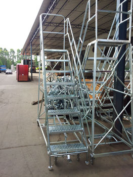 Safe Heavy Duty Foldable/telescopic/insulation Steel Warehouse Rolling  Ladder/stairs For Sale