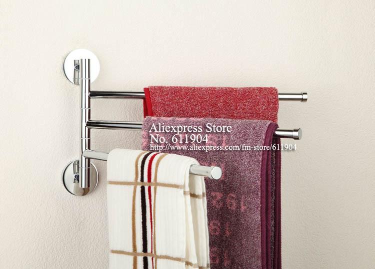 Brass Chrome Polished Three Bars Swivel Holders Towel Bars
