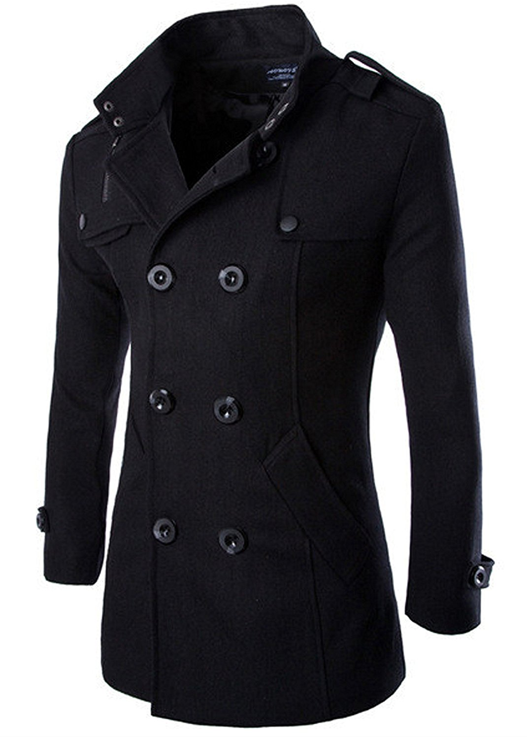 Fensajomon Mens Classic Double Breasted Slim Fit Pea Coat Trench Jacket