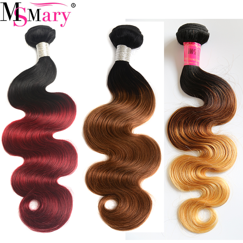 Ms Mary Body Wave Bundles Virgin Brazilian Ombre Human Hair Extensons Wholesale Remy Hair <strong>Weave</strong>