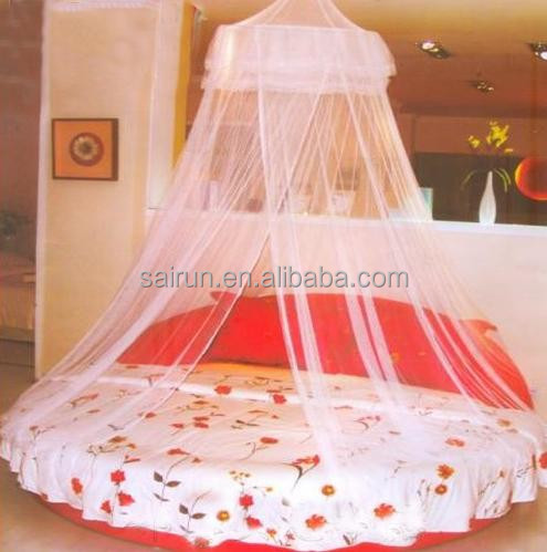 100%polyester white color circular/conical/round mosquito net for double bed