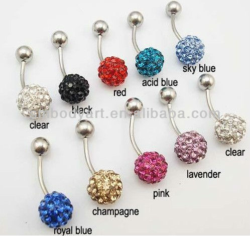 Crystal Ball Banana Bells Belly Bars Navel Rings Earring Ferido Piercing AMMZ01--DQ01