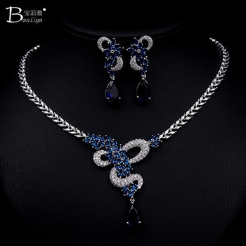 Bridal wedding jewelry necklace set diamond and ruby jewelry sets
