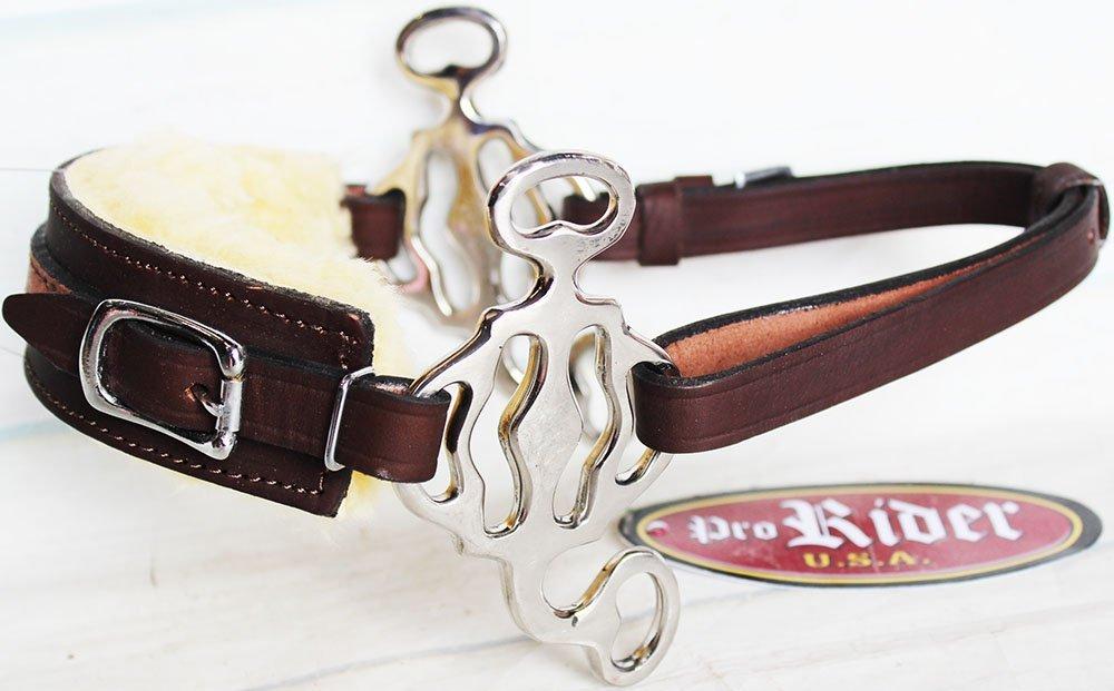 Challenger Tack Horse Western Fleece Padded Brown Leather Stainless Steel Adjustable Hackamore 35H54