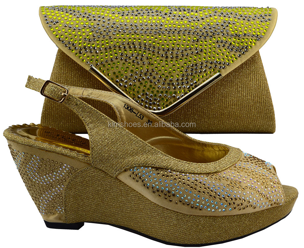 Bag Match Italian Shoes Matching Shipping Set By Wedges Color DHL Gold To Bag Woman Shoes African New Free And Design 8TqSn