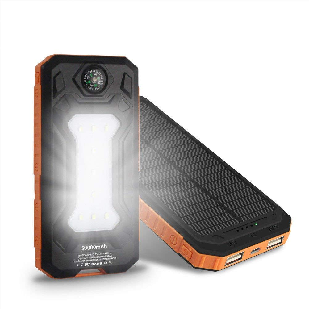 ShopForAllYou External Charger Phone 50000mAh Power Bank External 2 USB 9 LED Solar Battery Charger For Mobile Phone (orange)