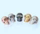 CZ Micro Pave 925 Sterling Silver Metal Bracelet Skull Beads, Gold Skull Head Beads MJCC060
