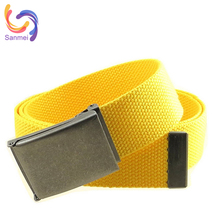 Customized Logo Canvas Belt with Metal Buckle, Bright Yellow Polyester Woven Belt