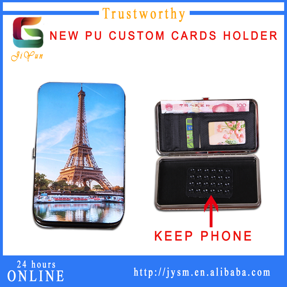 Blue Sky Eiffel Tower Charm Fashion Gilrs Gift Print PU Keep Cell Phone Wallet Money Clip Zip Slot ID Card Credit Card Holder