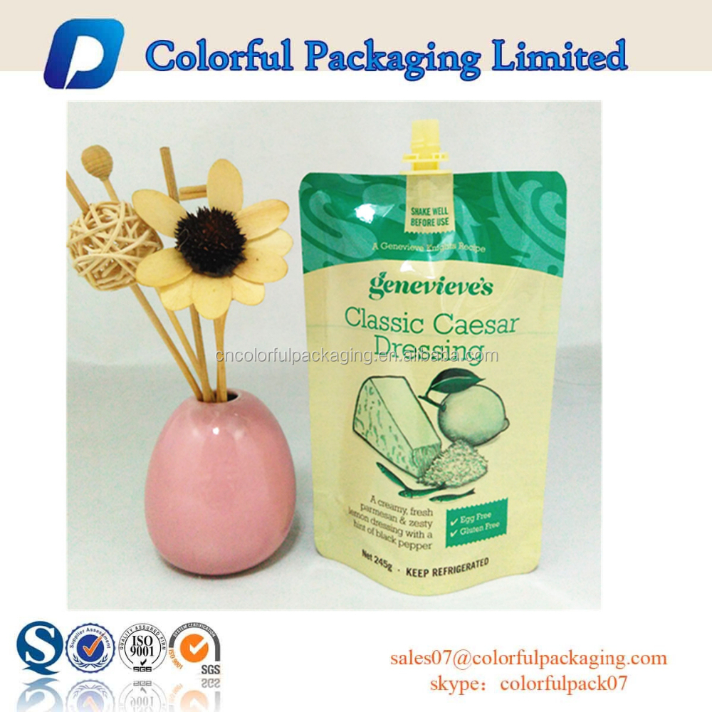 2015 hot sale customized liquid stand up pouch with spout for dressing packaging bag