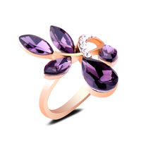 Good Quality Zirconium Stone Rose Gold Plated Rings Purple Glass Leaf Finger Rings Ornaments For Girls