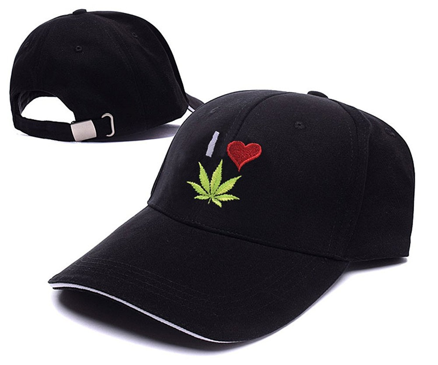e1157933fe5 Get Quotations · Agooder I love Weed Logo Adjustable Baseball Caps Unisex  Snapback Embroidery Hats