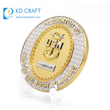 Wholesale china custom metal brass stamping shiny gold finish america navy coin for collection